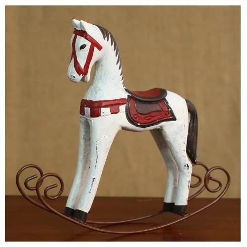 URTop 1Pcs Retro Wooden Crafts Rocking Horse Desk Decor Balance Art  Figurines Home Office Decor DIY