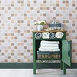 KINLO 0.61 * 5M Adhesivo para Azulejos Impermeable con diseño de Mosaico de PVC para Decorar y Proteger Pegatina para Muebles Cocina Baño a Prueba de Agua de Moho(Ladrillo B)