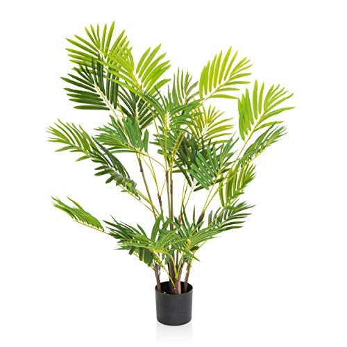 hjh OFFICE Kunstpflanze Areca I Höhe 120 cm Grün Deko Goldfruchtpalme pflegeleicht Zimmerpalme künstlich, 871010