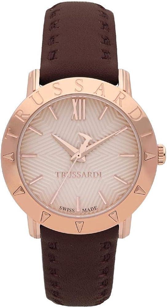Trussardi orologio da donna cassa in acciaio quadrante è guillochè rosa oro e il cinturino in pelle R2451108501