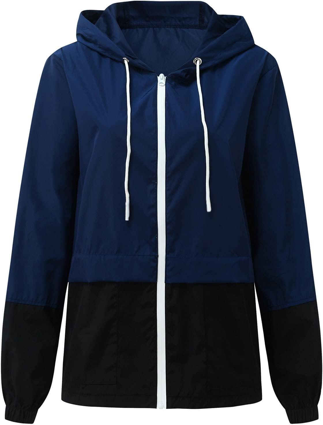 Women's Waterproof Rain Jacket Color Block Lightweight Outdoor Hooded Windbreaker Packable Active Outdoor Raincoat (Navy, Medium)