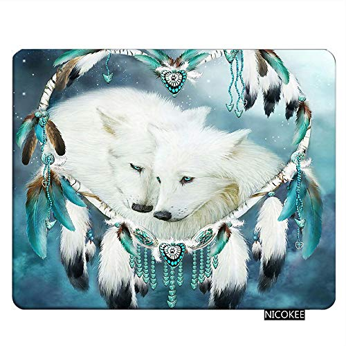 Nicokee Wolf Gaming Mousepad Cute White Wolf Dream Catcher Theme Mouse Pad Rectangle Mouse Mat for Computer Desk Laptop Office 9.5 X 7.9 Inch Non-Slip Rubber