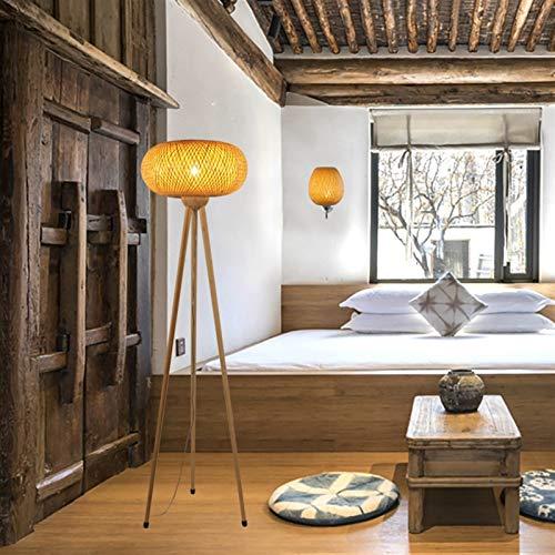 JSJJATQ Lámpara de Mesa Madera de bambú trípode Lámparas de pie for Sala de Estar Dormitorio Estudio Ligera de la decoración Principal E27 Lámpara de pie Minimalism (Lampshade Color : B)
