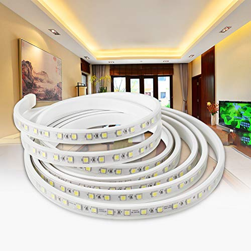 YAOBLUESEA 3M LED Streifen 230V LED Lichtband Licht Schlauch Streifen Warm Wasserdicht Schmuck Schlauch Warmweiß 5050 SMD IP65 für Hausbeleuchtung Dekoration Bar