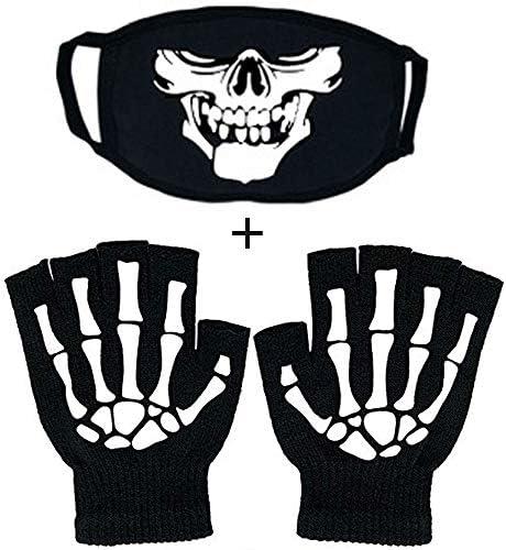 Tulips Lake Fingerless Skeleton Gloves and Skull Mask Glow in Dark Unisex Hand Riding Knit Gloves product image