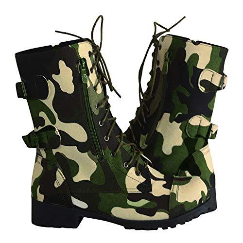 Yowablo Stiefel Frauen Winter Flats Futter Knöchel Schnürung Camouflage Military Combat (37,Grün)