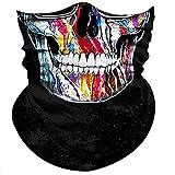 Obacle Skull Face Mask Half for Dust Wind UV Sun Protection Seamless 3D Tube Mask Bandana for Men Women Durable Thin Breathable Skeleton Mask Motorcycle Riding Bike Festival (Hip-HOP Glass Skull)