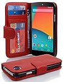 Cadorabo Coque pour LG Nexus 5 en Rouge Cerise – Housse Protection avec Fermoire...
