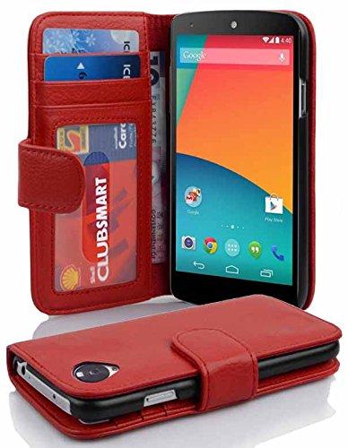 Cadorabo Funda Libro para LG Nexus 5 en Rojo Infierno - Cubierta Proteccíon con Cierre Magnético e 3 Tarjeteros - Etui Case Cover Carcasa