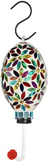Lily's Home Mosaic Glass Outdoor Hanging Hummingbird Feeder with Hanging Hook. 6 Inch (Multi Color Flower)