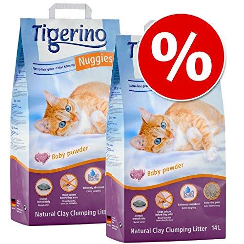2 x 14 litros de Arena Tigerino Nuggies de Arcilla Natural, Poco Polvo, compacta e higiénica, Captura los olores Durante Mucho Tiempo, Extrema absorción.