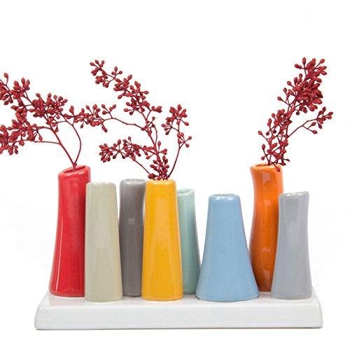 Chive -pooley 2, vaso in ceramica rettangolare bud flower, con 8tubi per fiori corti, assortimento di rosso e grigio, arancione e blu.