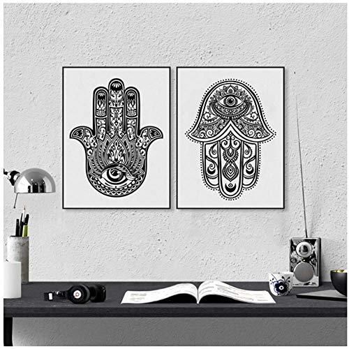 A&D Handgezeichnete verzierten Amulett Hamsa Hand von Fatima Kunstdruck Wand Bild, Hamsa Hand Leinwand Gemälde Poster arabischen Home Decor-50x70cmx2pcs-No Frame