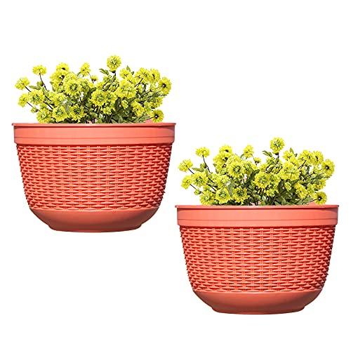 GLAITC 2 Pezzi Fioriere da Parete in plastica, Cesto per fioriera sospesa Fioriera da Parete Porta Piante per vasi da Fiori Appendiabiti per Interni Outdoor Home Office Decorazione Portico Red