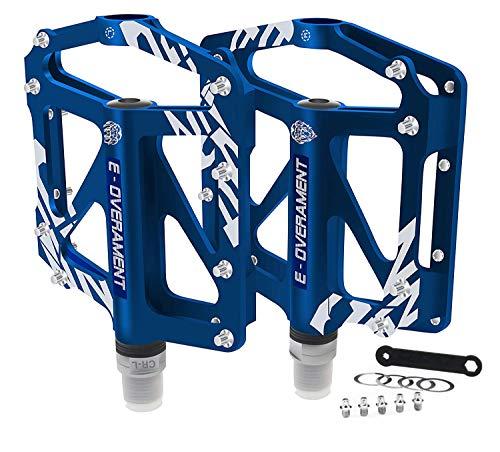 BMX Fahrrad Pedale Flat MTB, ultraleicht und rutschfest Aluminium - Mountainbike, Rennrad und Faltrad - Extra Tool für Pedale - Fahrradpedale zertifiziert, blau