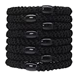 L. Erickson Grab & Go Ponytail Holders, Black, Set of Eight - Exceptionally Secure with Gentle Hold
