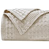 PHF 100% Cotton Waffle Weave Blanket King Size - Luxury Decorative Soft Breathable Skin-Friendly Blanket for All Season - Perfect Textured Blanket Layer for Couch Bed Sofa 108'x90' - Khaki