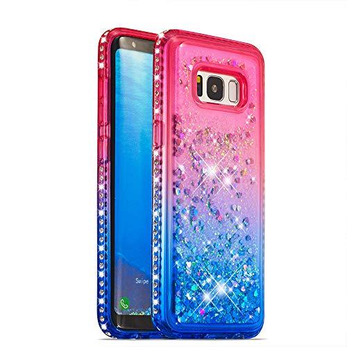 Coque pour Samsung Galaxy S8 Liquide Brillant, XINYIYI Coloré 3D Rigide En Plastique Conceptions Rigides Cristal De Luxe Étanche Sands Water Flow Couvercle Liquide Glitter Bling Bling Quicksand Housses de Dégradé de Couleur Housse Étui Anti-Choc protection pour Samsung Galaxy S8 - Rose + Bleu