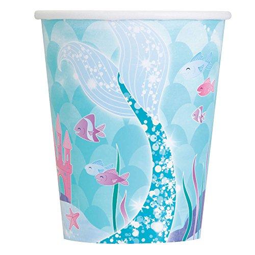 Unique Party- Vasos de Papel Fiesta de Sirena, 8 Unidades, 266 ml...