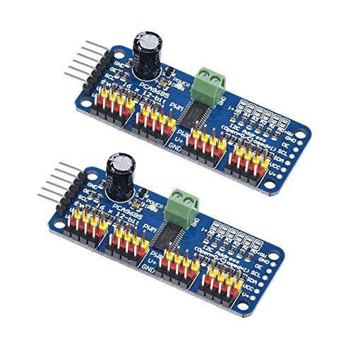ZkeeShop 2PCS PCA9685 16 Channel 12-Bit PWM Servo Motor Driver Compatible for Arduino Robot Raspberry Pi IIC Interface Module Servo Shield