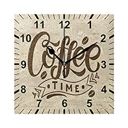 susiyo Coffee Time Text Printed Square Wall Clock Silent Non Ticking Quartz Battery Operated Analog Modern Decor Clock for Bedroom Living Room Kitchen Desk Farmhouse-7.7inch
