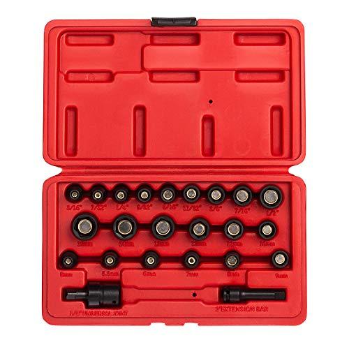 sunex socket wrenches drive socket sets Sunex 1818, 1/4 Inch Drive Master Magnetic Socket Set, 23-Piece, SAE/Metric, 3/16