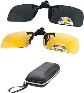 2 Pairs Sunglasses Clip On Flip Up Night Vision Glasses Anti Glare Polarized for Men Women UV400 Best for Driving¡