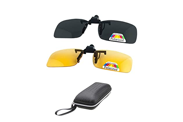 de680bec27 2 Pairs Sunglasses Clip On Flip Up Night Vision Glasses Anti Glare Polarized  for Men Women UV400 Best for Driving
