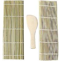 J Jixista Kit de Sushi de bambú Herramientas Súper Fácil Hecho En Casa Artilugio de Sushi DIY 2 x Esterillas, 1 x Paleta de Arroz Kit para Hacer Sushi de Bambú Preparar Sushi Fácil Y Profesional