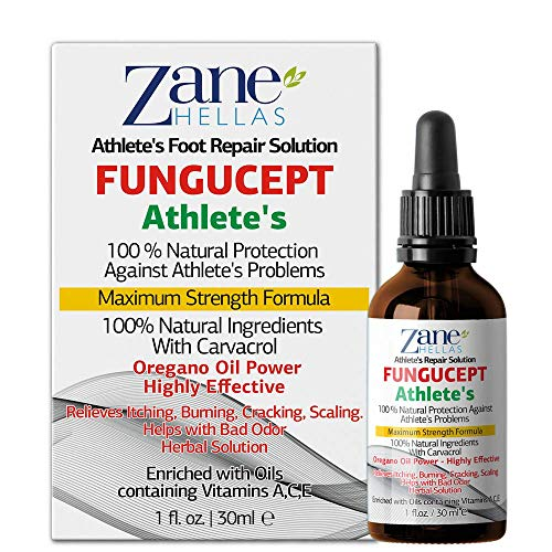 Zane Hellas FunguCept Athlete's Repair Solution. Relieves Itching, Burning, Cracking, Scaling. Stop Bad Odor. Visible Results in 5 Days. 1 fl. oz - 30 ml.