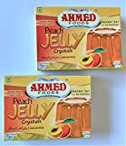 Ahmed Foods Peach Jelly Crystals, Instant Set Jello 70g (2 Packs) - Certified Halal