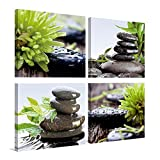 YPY Zens Stone Spa Wall Art Print Canvas Green Rain Water Black Balanced Stones Photo Painting Ready to Hang for Bedroom Living Room 4 Panels (d, 12x12in)