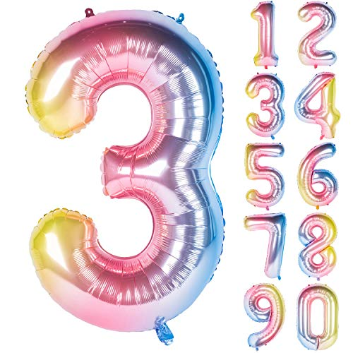 New 40 Inch Rainbow Digit Helium Foil Birthday Party Balloons Number 3
