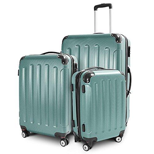 BERWIN Kofferset 3-teilig Reisekoffer Trolley Hartschalenkoffer ABS Teleskopgriff (Lime Green)