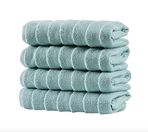 Bagno Milano Turkish Spa Towel Set, Non-GMO Turkish Cotton | Velvety Soft & Ultra-Absorbent | 4-pc Towel Set, Aqua Green