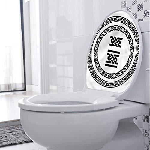 Homesonne - Adhesivo extraíble para asiento de inodoro, diseño de nudos medievales, moderno, impermeable, extraíble de 15 x 44 cm