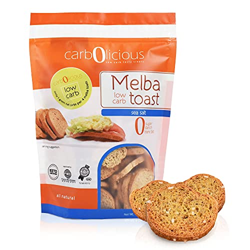 Low Carb Melba Toast By Carb-o-licious Sugar Free Keto Snack- 1 Net Carb Per Serving- Kosher Friendly Crunchy Healthy Bites- Sea Salt Flavor For Dips, Spreads, Soups, Salads & More - 4oz