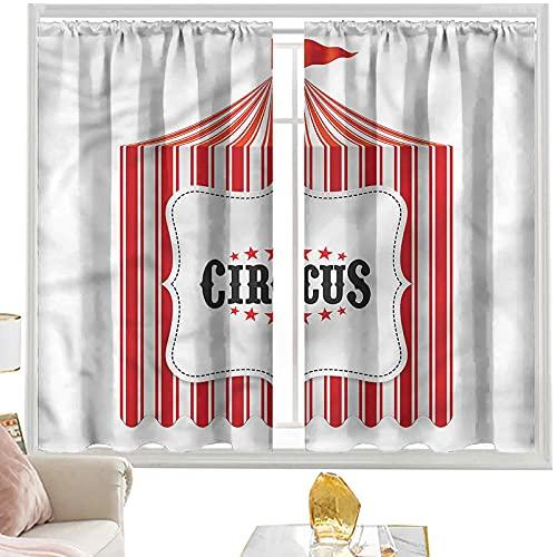 Cortinas de dormitorio Circo, carpa Circus Flagpole W52 x L72 pulgadas para cortinas con bolsillo para barra