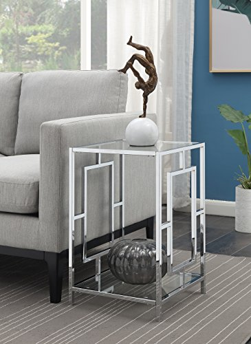 Convenience Concepts Town Square Chrome End Table, Clear Glass / Chrome Frame