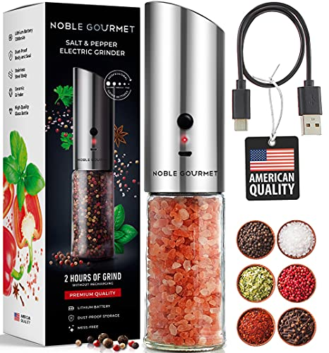 Rechargeable Electric Salt & Pepper Grinder - Automatic Gravity Mill - Adjustable Coarseness Knob Shaker - Large Refillable Glass, Ceramic Grind, Stainless Steel - No Battery Needed - Recipes in Set