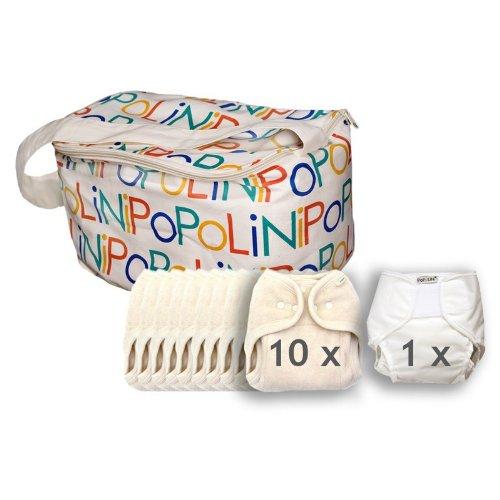 popolini-kit 10 pannolini lavabili one size in cotone organico ecru