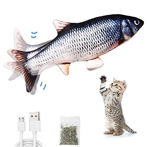ZFZZC Elektrisch Spielzeug Fisch, Interaktives Katzenspielzeug für Hauskatzen mit Katzenminze, Realistisches Bewegliches Fischkatzenspielzeug, lustige Haustier Spielzeug für Katze Kauen und Kick