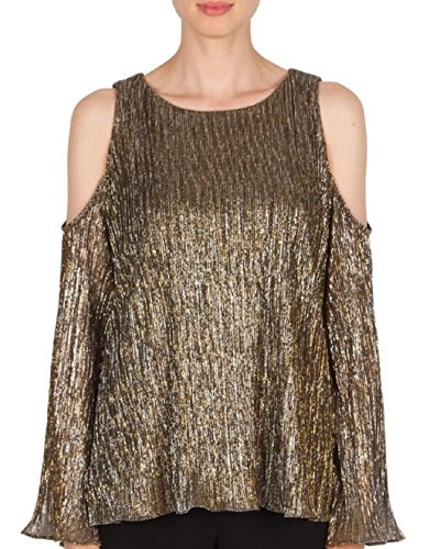 Joseph Ribkoff Bronze Pleated Knit Cold Shoulder Blouse Style 174833 Size 10