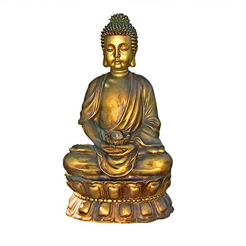Sunnydaze Buddha Outdoor Water Fountain with LED Light, Patio and Garden Statue Feature, 36-Inch Tall