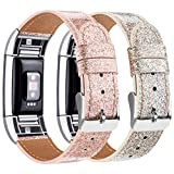 Tobfit Bracelet Compatible Fitbit Charge 2 en Cuir Sport Femme Homme,Bande de Rechange Ajustable connecteurs en métal Accessoires (Flash Champagne Doré+Or Rose, 5,5'- 8,1')