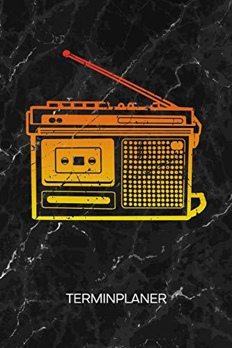 Terminplaner: 80er Liebhaber Kalender Achtziger Disko Terminkalender - Retro Radio Wochenplaner Kassettenspieler Wochenplanung Vintage Taschenkalender Oldschool To-Do Liste Termine