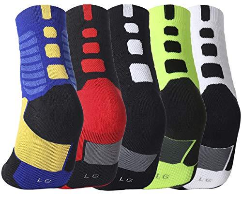 Yetto Elite Basketball-Socken für Jungen, Sportsocken, Sportsocken, Herren, Crew-Socken, Wadenhoch, gepolstert, Wandern, Fußball, Baseball