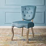 Modway Array French Vintage Tufted Performance Velvet Weathered Wood Dining Chair in Sea Blue