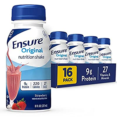 Ensure Original Nutrition Shake Small Meal Replacement Complete Balanced with Nutrients to Support Immune System Health, Strawberry, 128 Fl Oz, Pack of 16 by Ensure