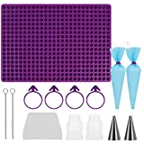 MEOMOU 468 Cavity Chocolate Chips Mold Chocolate Drops Molds / Dog Treats Pan Molds + Scraper&2 Piping Bags, 2 Piping Tips, 4 Bag Ties, 2 Couplers, 2 Brushes, 0.5 inch Mini Round Silicone Mold